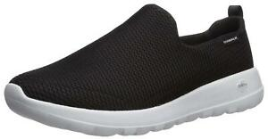 Skechers Mens Go Walk Max Fabric Low Top Slip On Walking, Black/White, Size 9.5