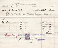 The Scottish Waggon Company Limited 1895 Rent of Waggons Stamp Invoice Ref 41516