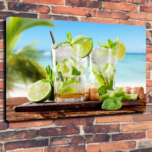 """Mojito"" Stunning Wall Art Printed Box Canvas Picture A1.30""x20""30mm Deep , Bar"
