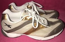 ☆REEBOK! Women's-(6) DMX Foam GOLD/WHITE Leather ATHLETIC Sneakers TENNIS Shoes☆