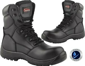 Mens Work Safety Boots Composite Toe Cap Police Army Military Combat  Work Boot