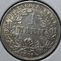 1901-A Germany 1 Mark Silver Coin, VF/XF Condition