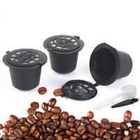5xRefillable Reusable Coffee Capsules Pods For Nespresso Machines Spoon Brush