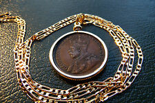 """O Canada King George V Large Cent Coin Pendant on 24"""" Gold Filled Figaro Chain"""