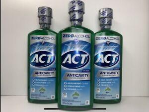 3Act Anticavity Fluoride Mouthwash, Mint Flavor, Zero Alcohol, 18 oz. Each