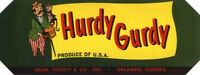 GENUINE CRATE LABEL VINTAGE FLORIDA ORLANDO CITRUS ITALIAN 1940S HURDY GURDY