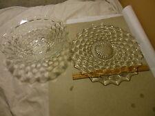 """VINTAGE ANTIQUE CUBIST CLEAR GLASS 12"""" PLATTER & FOOTED SERVING SALAD BOWL SET"""