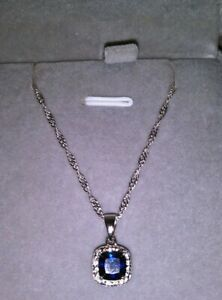 925 Sterling Silver Diamond & Blue Sapphire Halo Pendant/Necklace-New!
