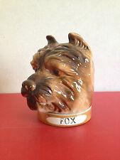 rare barbotine pot tabac forme tête de chien FOX marque de St Clément années '20