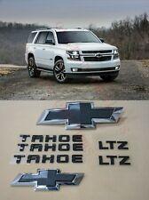 8PCS 2015-2020 Chevrolet Tahoe LTZ Black Bowtie Emblems Front & Rear