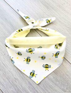Handmade Beautiful Bee white and yellow Small Dog And Puppy Bandana
