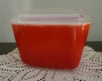 """Vintage PYREX ~ """"Red"""" Refrigerator Dish ~ 0501 ~ With Lid 501-C ~ (13)"""