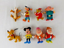 Walt Disney Productions Lot of 8 Vintage Flocked Christmas Ornament Hong Kong