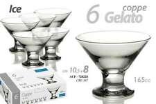 SET 6 COPPE GELATO BICCHIERI IN VETRO ICE 165 CC ACF-728228