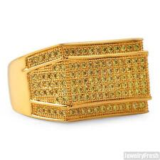 18K Gold Finish Yellow Cubic Zirconia Mens Lab Made Ring