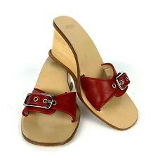 Coach Slides 6.5 Honey wood red leather buckle heels sandal flipflop J295 Italy