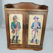 Vintage Handmade Bar Liquor Whiskey Cabinet with Revolutionary War Soldiers