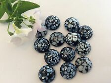 VINTAGE Czech Glass Taxi Nero Blu 15mm ROUND Flatback x6 Craft POST LIBERO