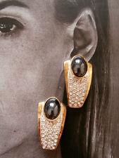 ORECCHINI CLIP ARGENTO 925 EMATITE CRISTALLI ANNI 60 vintage earrings X1