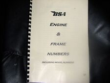 BSA ENGINE & FRAME NUMBER IDENTIFICATION MANUAL BW53 1920 - 1974