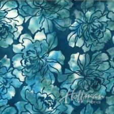 Hoffman Bali Batik Graphic Floral Q2107-341-Wade Blue Batik Cotton Fabric BTY
