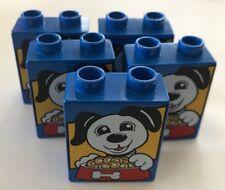 *NEW* 5 Pieces Lego DUPLO BLUE Brick 1x2x2 DOG & FOOD BOWL Pattern