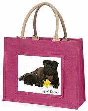 'Happy Easter' Black Pug Dogs Large Pink Shopping Bag Christmas Pr, AD-P91DA1BLP