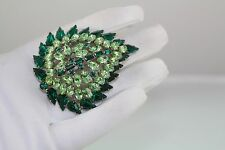 Magnificient GUSTAVE SHERMAN SIGNED SWAROVSKI CRYSTAL PIN/BROOCH Emerald Green