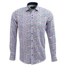 Guide London LS74210 Bold Stripe Luxury Cotton Sateen Paisley Print Casual Shirt M White