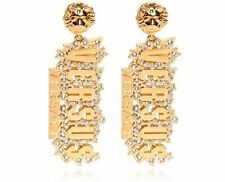 New VERSACE VERSUS Rhinestone & Gold Plated Earrings w/ Lion head