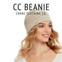 Women CC beanie Cable Knit Super Cute Beanie Thick Cap Hat Unisex Slouchy Ho