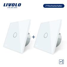 LIVOLO  Wechselschalter Touch Glas Kreuzschalter  mit Anzeige in weiss 2 PCS