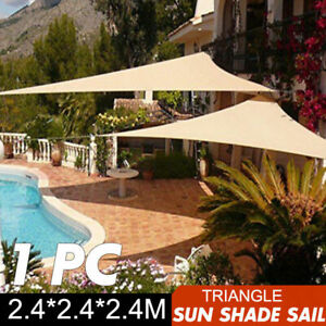 2.4m Sun Shade UV Block Patio Awning Garden Sail Water Resistant Triangle Canopy