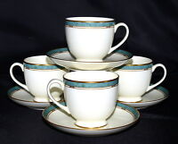 Pfaltzgraff Patina * 4 SETS CUPS & SAUCERS * Turquoise Marble-Like Band, Exc!