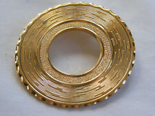 Beautiful Vintage Gold Tone Open Circle Textured Scarf Clip E2