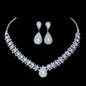 Stunning Silver Wedding Bridal Jewellery Crystal Rhinestone Necklace Earring Set