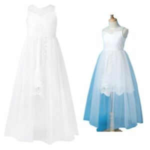 Girl Princess Lace Tulle Ball Gown Kid Birthday Wedding Bridesmaid Elegant Dress