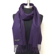 New 100% CASHMERE SCARF WRAP MADE IN SCOTLAND SOLID Eggplant SOFT Wool Wrap