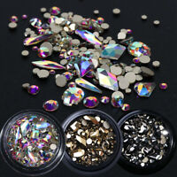 Mixed 3D Nail Art Rhinestones Crystal Gems Gold AB Shiny Stones Decor Luxurious