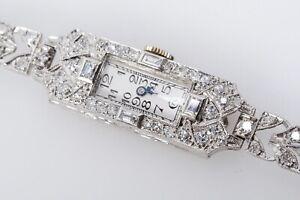 Art Deco Damen Armbanduhr Platin Diamanten Brillanten