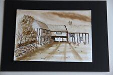 New Pen & Sepia Watercolour Wash Old Farm Building 29cm x21cm unmounted unframed