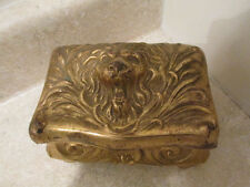 S38 antique gold washed metal jewelry box w/ lion face lid benedict company