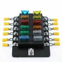 12 Way Car Boat Bus UTV Blade Fuse Box ATO ATC Block Holder Cover 12V + LED Kit