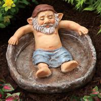 Relaxing Gnome Pool, Birdbath Outdoor Decor Naughty Garden Elf Statue Yard Art