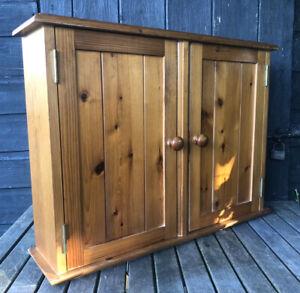 Vintage Antique Style Pine Wood Two Door Bathroom Wall Mount Cupboard Cabinet