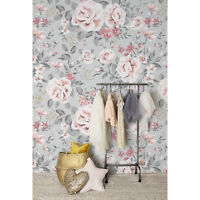 Removable Wallpaper self-adhesive Vintage floral Rose Nursery Baby girl Kids