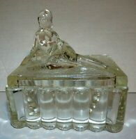 1930's Powder Dish Jar Delilah I Clear Glass American Glass Company