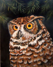 Owl in acrylic painting reproduction print 8x10 on cardstock of original