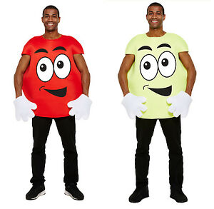Adult Men Women Sweet Red/Yellow With Face Fancy Dress Costume Character Outfit