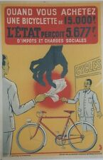 """CHAMBRE SYNDICALE NATIONALE DU CYCLE""Affiche originale entoilée Litho JACQUEMIN"